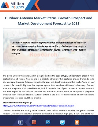 Outdoor Antenna Market Status, Growth Prospect and Market Development Forecast to 2021