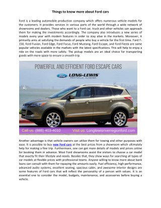 Things to know more about Ford cars