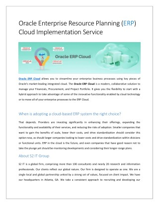 Oracle ERP Cloud Implementation - S2 IT Group
