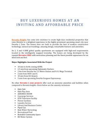 Buy luxurious homes at revanta heights