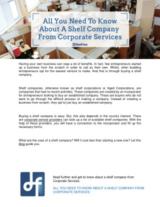 All You Need To Know About A Shelf Company From Corporate Services