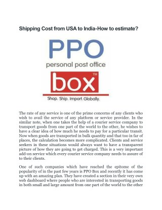 Shipping Cost from USA to India - How to estimate?