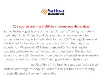 CSS Course Training Institute in Ameerpet Hyderabad