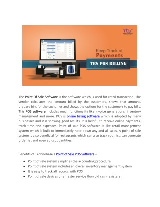 Benefits of Technobases Point of Sale POS Software