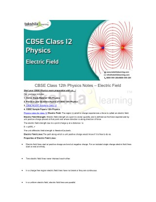 CBSE Class 12th Physics Notes - Electric Field | NCERT Solutions 12th