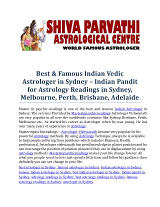 Best, Famous & Top Indian Vedic Astrologer in Sydney, Melbourne, Perth, Brisbane, Adelaide