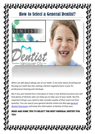 How to Select a General Dentist?