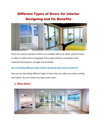 Most Popular Doors For Interior Designing And Its Benefits
