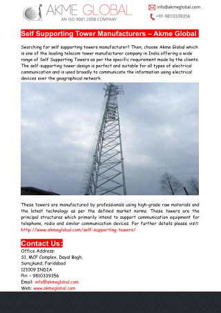 Self Supporting Towers Specifications – Akme Global