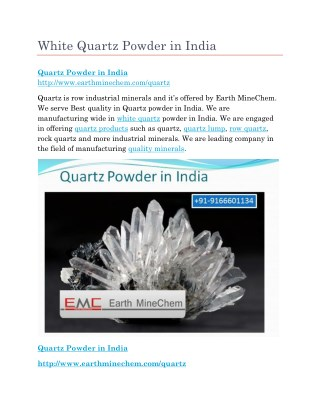 White Quartz Powder in India