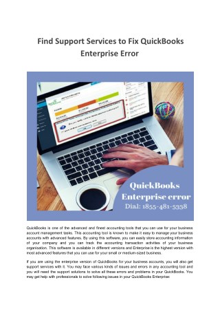Quickbooks Enterprise Support to Fix Quickbooks Enterprise Issues