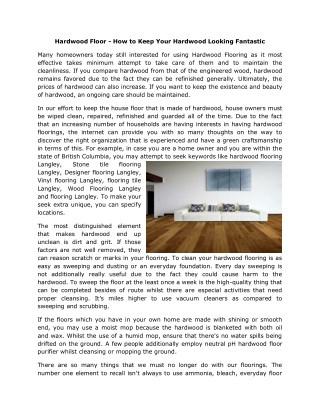 Hardwood vinyl wood flooring Langley