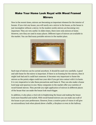Make Your Home Look Royal with Wood Framed Mirrors