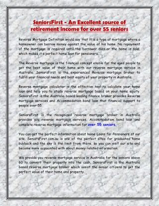 SeniorsFirst - An Excellent source of retirement income for over 55 seniors