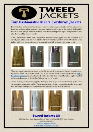 Buy Fashionable Men's Corduroy Jackets