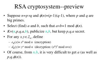 RSA cryptosystem--preview