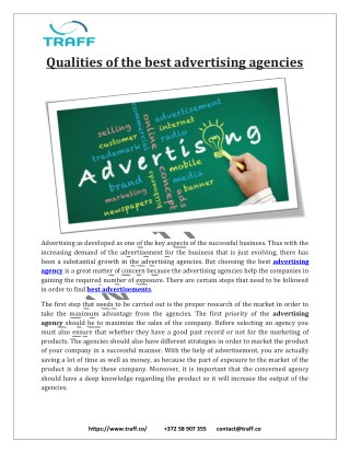 Best Qualities of the Commercial, Campaigns & Online Social Media Marketing advertising agencies