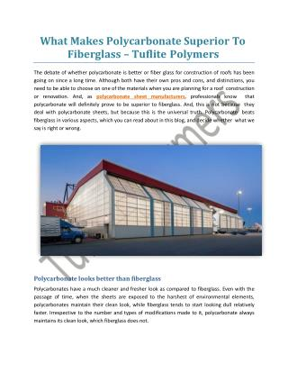What Makes Polycarbonate Superior To Fiberglass - Tuflite Polymers