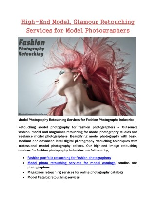 High-End Fashion, Models & Magazine Retouching Services for Photographers