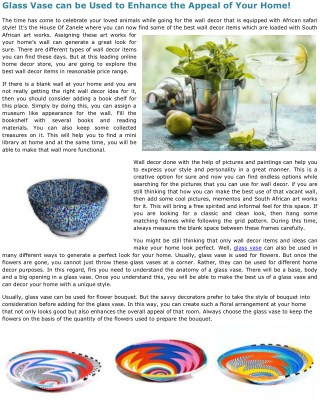 Glass Vase can be Used to Enhance the Appeal of Your Home!