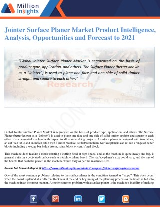 Jointer Surface Planer Market Product Intelligence, Analysis, Opportunities and Forecast to 2021