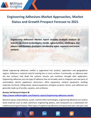 Engineering Adhesives Market Approaches, Market Status and Growth Prospect Forecast to 2021