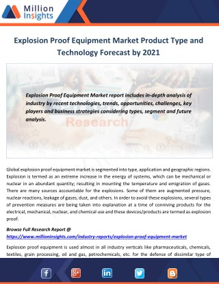 Explosion Proof Equipment Market Product Type and Technology Forecast by 2021