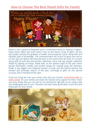 How to Choose The Best Diwali Gifts for Family
