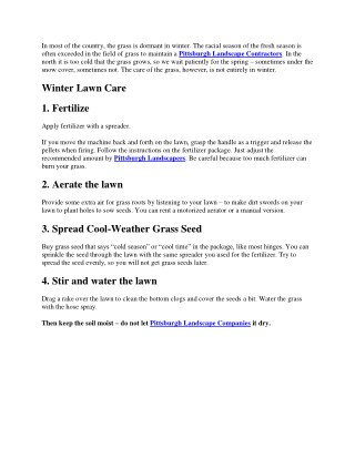 Tips For Winter Lawn Care