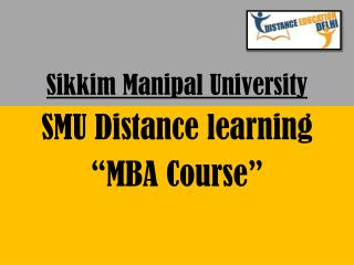 SMU Distance learning MBA Course