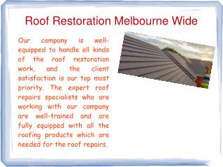 Roof Maintenance Points in Melbourne