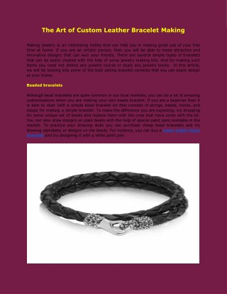 The Art of Custom Leather Bracelet Making