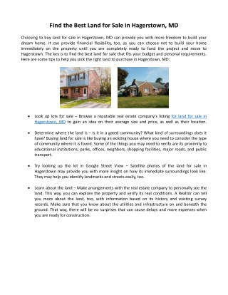 Find the Best Land for Sale in Hagerstown, Md