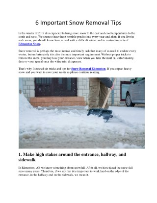 6 Important Snow Removal Tips