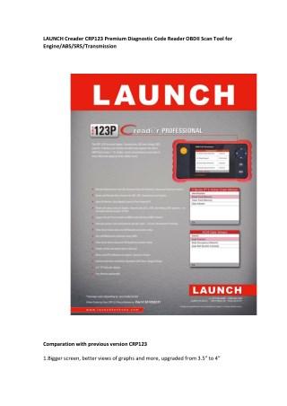 LAUNCH Creader CRP123 Premium Diagnostic Code Reader OBDII Scan Tool for Engine/ABS/SRS/Transmission