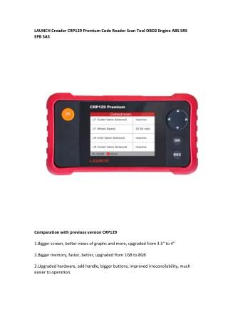 LAUNCH Creader CRP129 PremiumCode Reader Scan Tool OBD2 Engine ABS SRS EPB SAS
