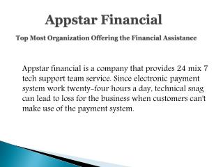 Appstar Financial - One of the Best Financial Assistance