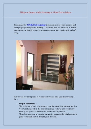 Things to Inspect while Screening a 3 Bhk Flat in Jaipur