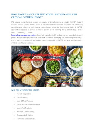 How to Get HACCP Certified in India | HACCP Certification Consultants