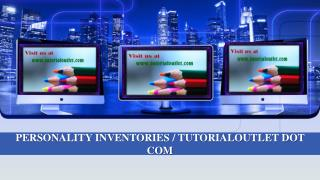 PERSONALITY INVENTORIES / TUTORIALOUTLET DOT COM