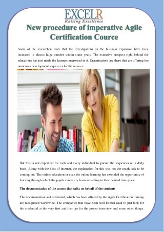 New procedure of imperative Agile Certification Cource