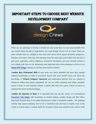 Important Steps To Choose Best Website Development Company
