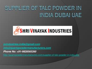 Supplier of Talc Powder in India Dubai UAE