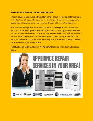 Refrigerator service center in Hyderabad   Best services