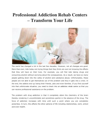 Professional Addiction Rehab Centers – Transform Your Life