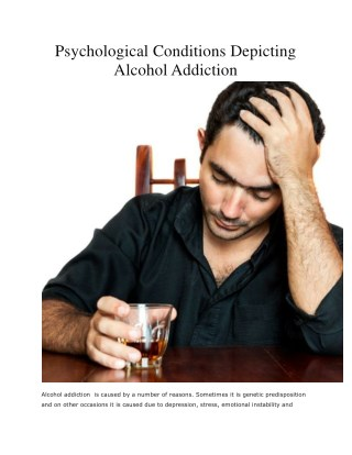 Psychological Conditions Depicting Alcohol Addiction