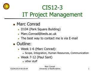 CIS 12-3 IT Project Management