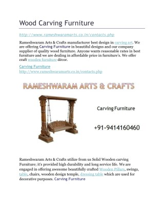 Wood carving furniture