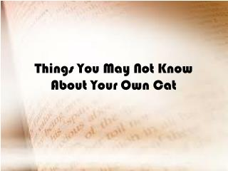 Things You May Not Know About Your Own Cat