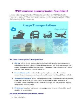TMS(Transportation management system)_Cargo365cloud
